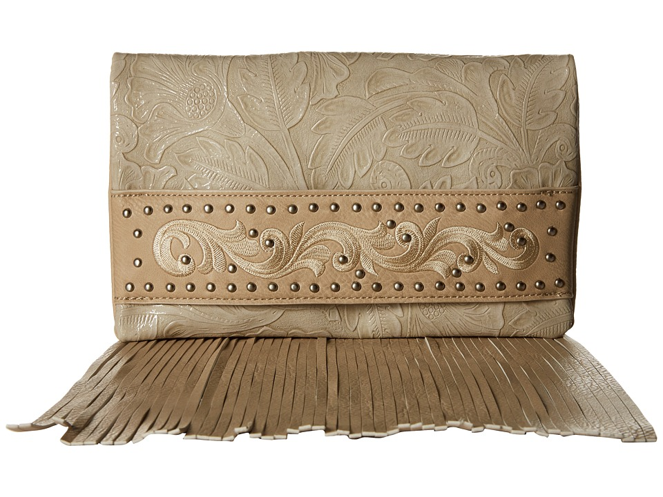 American West - Palo Alto Folded Clutch w/ Chain (Cream) Clutch Handbags