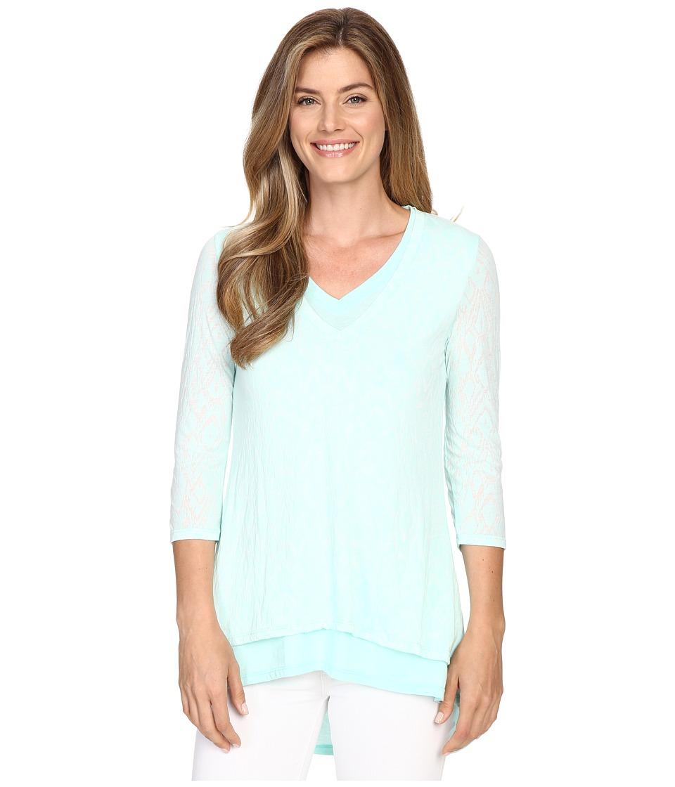 Mod o doc Burnout Jersey Double Layer V Neck Tee Daquiri Ice Womens T Shirt