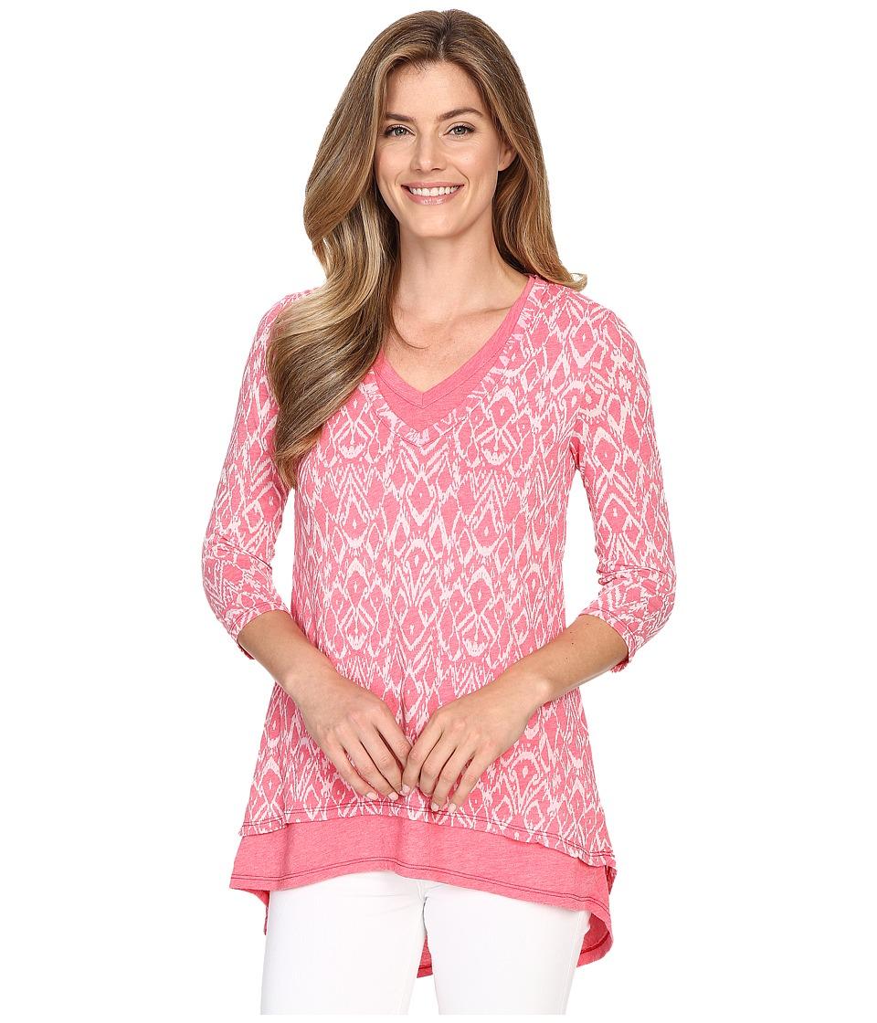 Mod o doc Burnout Jersey Double Layer V Neck Tee Dragonfruit Womens T Shirt