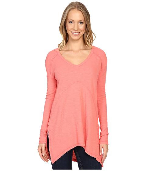 Mod-o-doc - Textured Slub Stripe Seamed V-Neck Long Sleeve Tee (Cali Coral) Women's T Shirt
