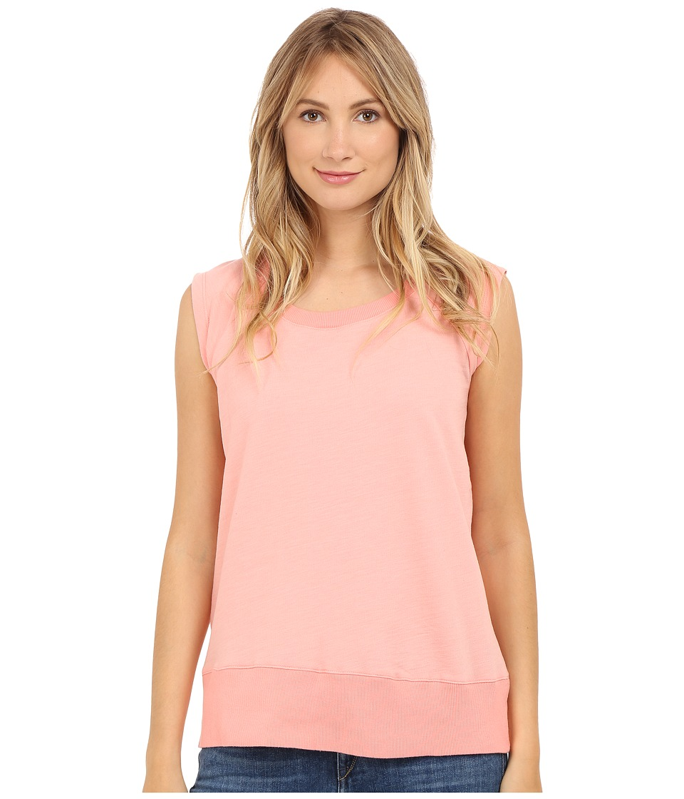 Allen Allen Sleeveless Sweatshirt Peach Amber Womens Sleeveless