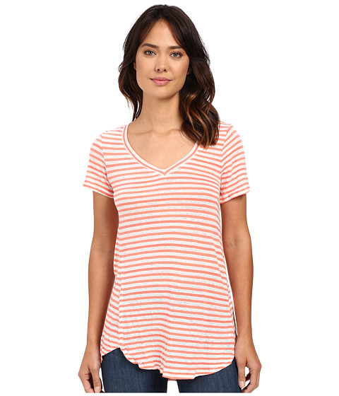 Mod-o-doc Linen Knit Stripe Short Sleeve V-Neck Tee