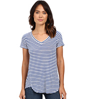 Mod-o-doc - Linen Knit Stripe Short Sleeve V-Neck Tee