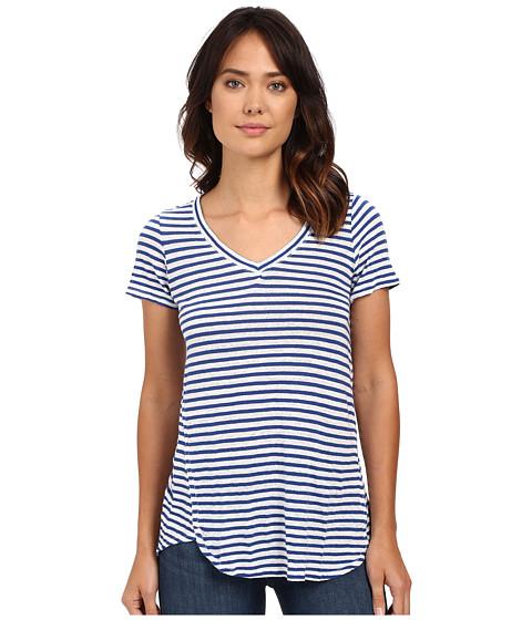 Mod-o-doc - Linen Knit Stripe Short Sleeve V-Neck Tee (Sailor) Women's T Shirt