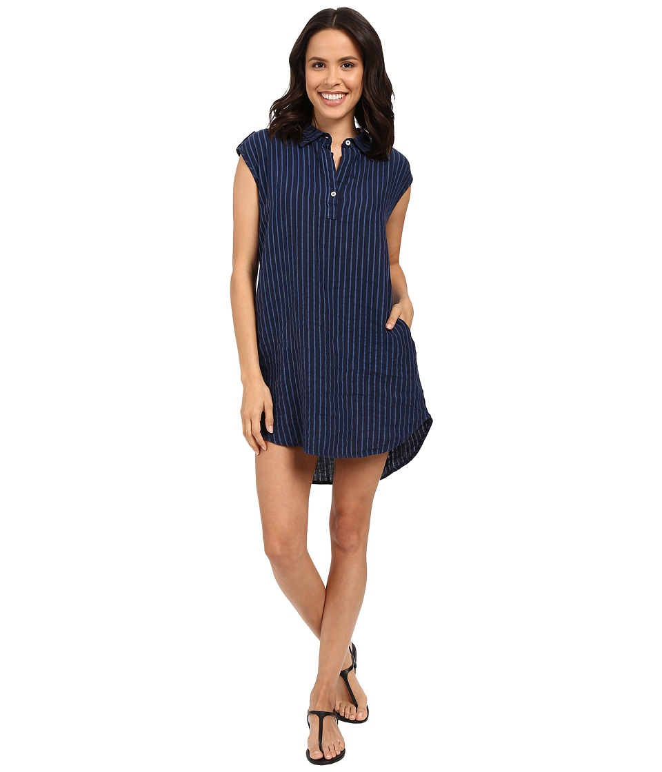 Allen Allen Stripe Linen Dress Lapis Womens Dress