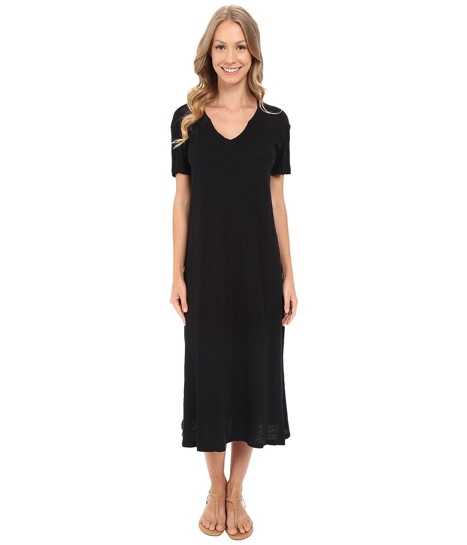 Allen Allen Short Sleeve Vee Dress Black Womens Dress