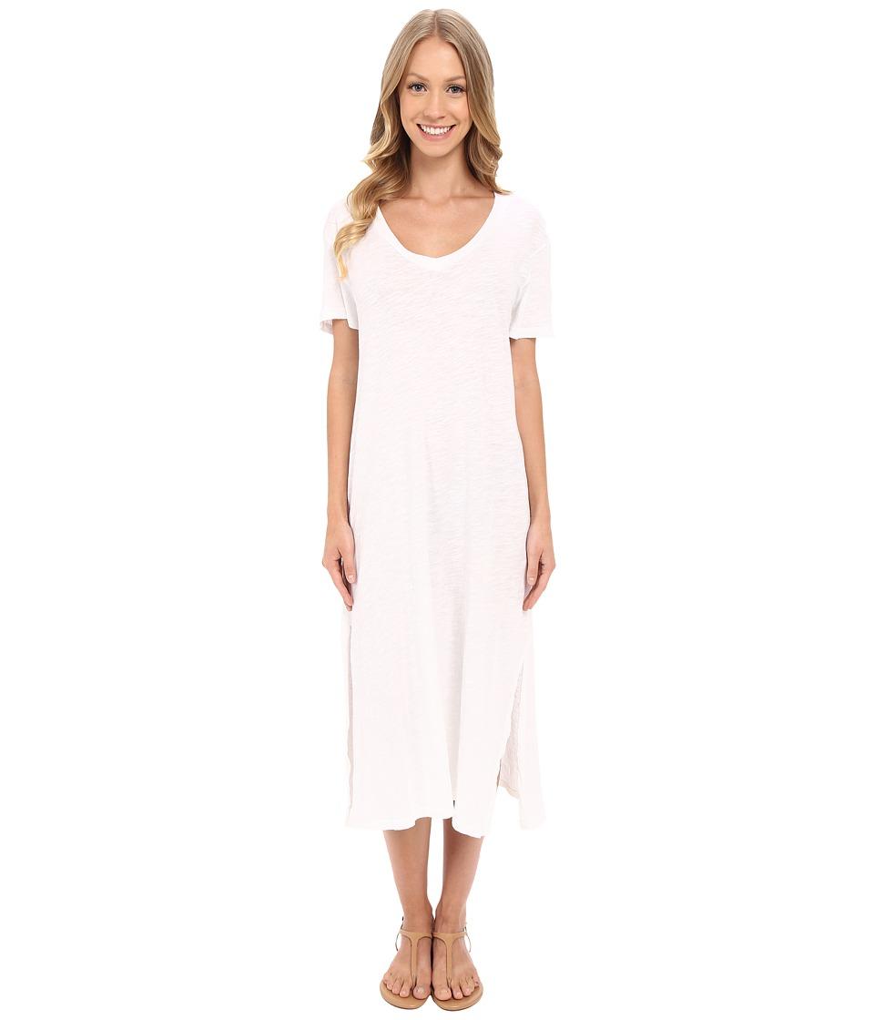 Allen Allen Short Sleeve Vee Dress White Womens Dress