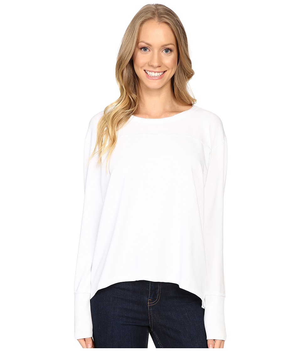 Mod-o-doc - Cotton Modal Spandex French Terry Crossover Back Long Sleeve Pullover (White) Women