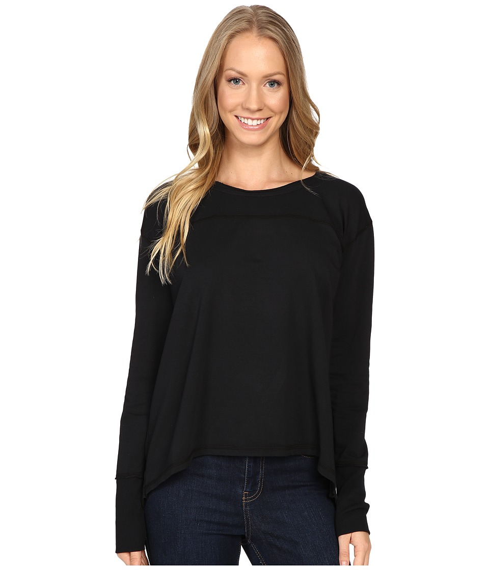 Mod-o-doc - Cotton Modal Spandex French Terry Crossover Back Long Sleeve Pullover (Black) Women
