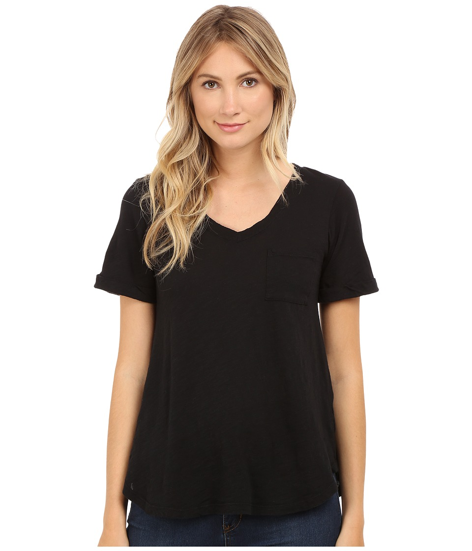 Allen Allen Short Sleeve Vee w/ Pocket Black Womens Short Sleeve Pullover