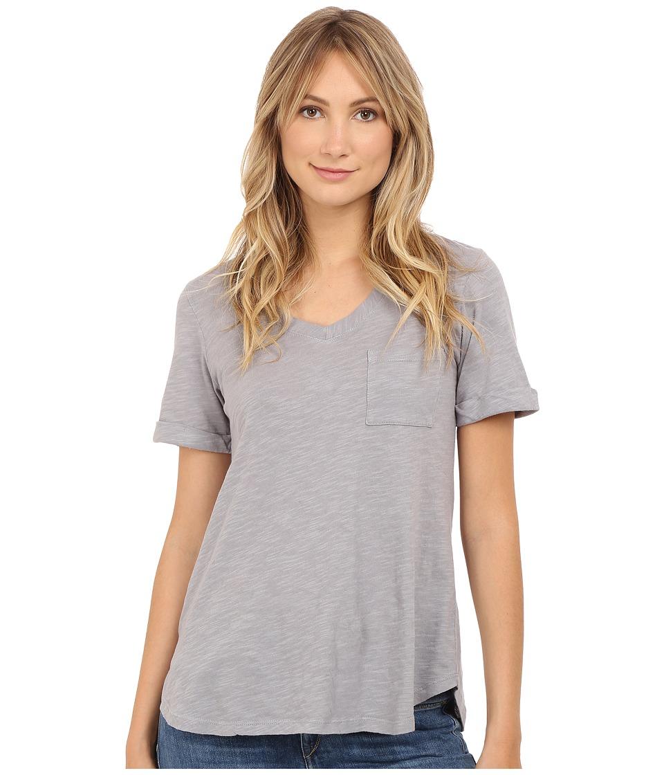 Allen Allen Short Sleeve Vee w/ Pocket Pale Grey Womens Short Sleeve Pullover