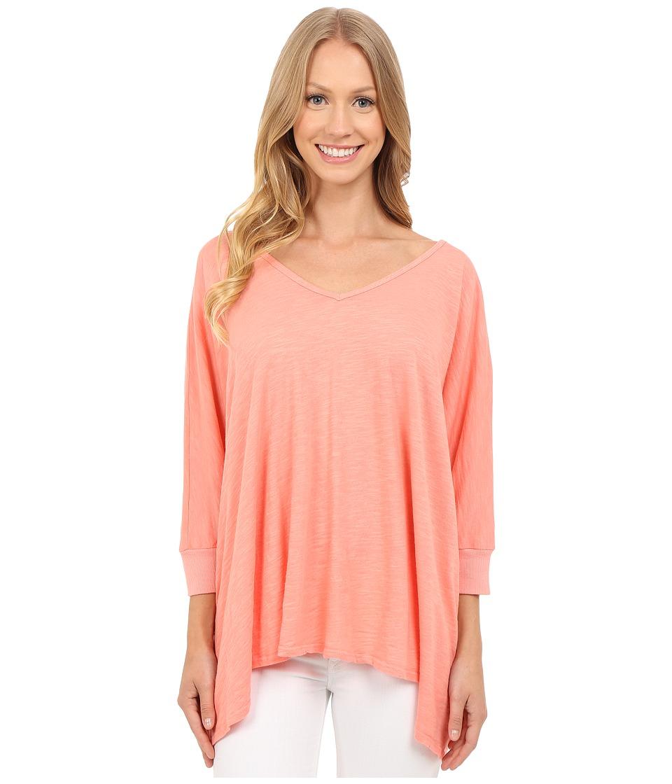 Allen Allen Popover Peach Amber Womens Short Sleeve Button Up