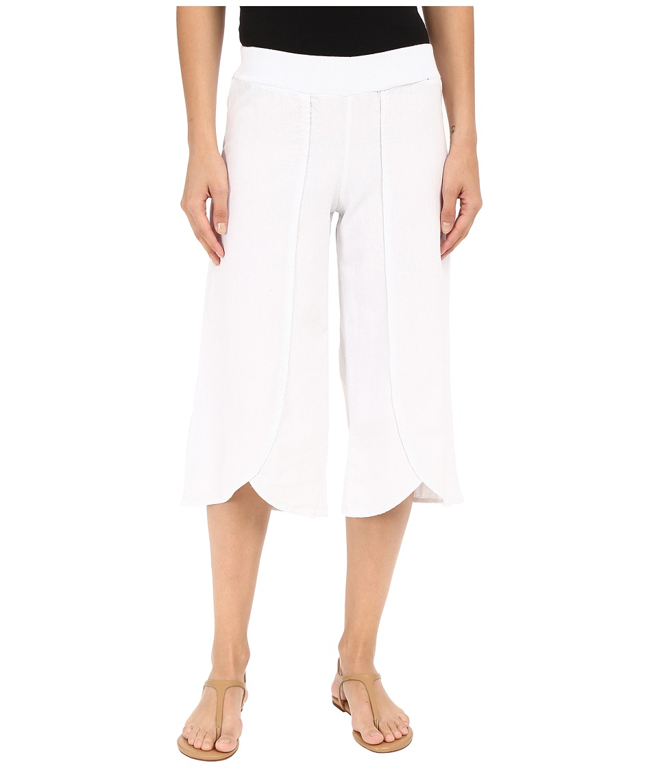 Mod-o-doc - Linen Rayon Crossover Culottes White Womens Casual Pants $79.00 AT vintagedancer.com