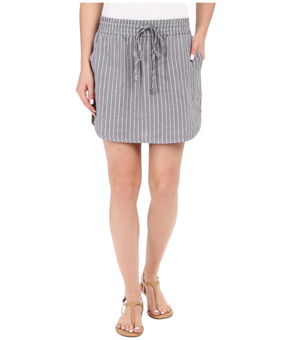 Allen Allen Stripe Linen Skirt Pale Grey Womens Skirt
