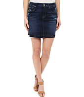 7 For All Mankind - Mini Pencil Skirt with Released Hem & Distress in Mykonos Dark Indigo