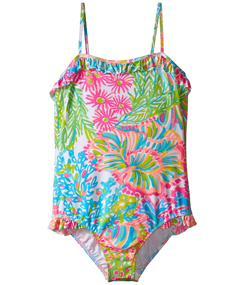 Lilly Pulitzer Kids Cassidy Swimsuit Toddler/Little Kids/Big Kids Multi Lovers Coral Girls Swimsuits One Piece