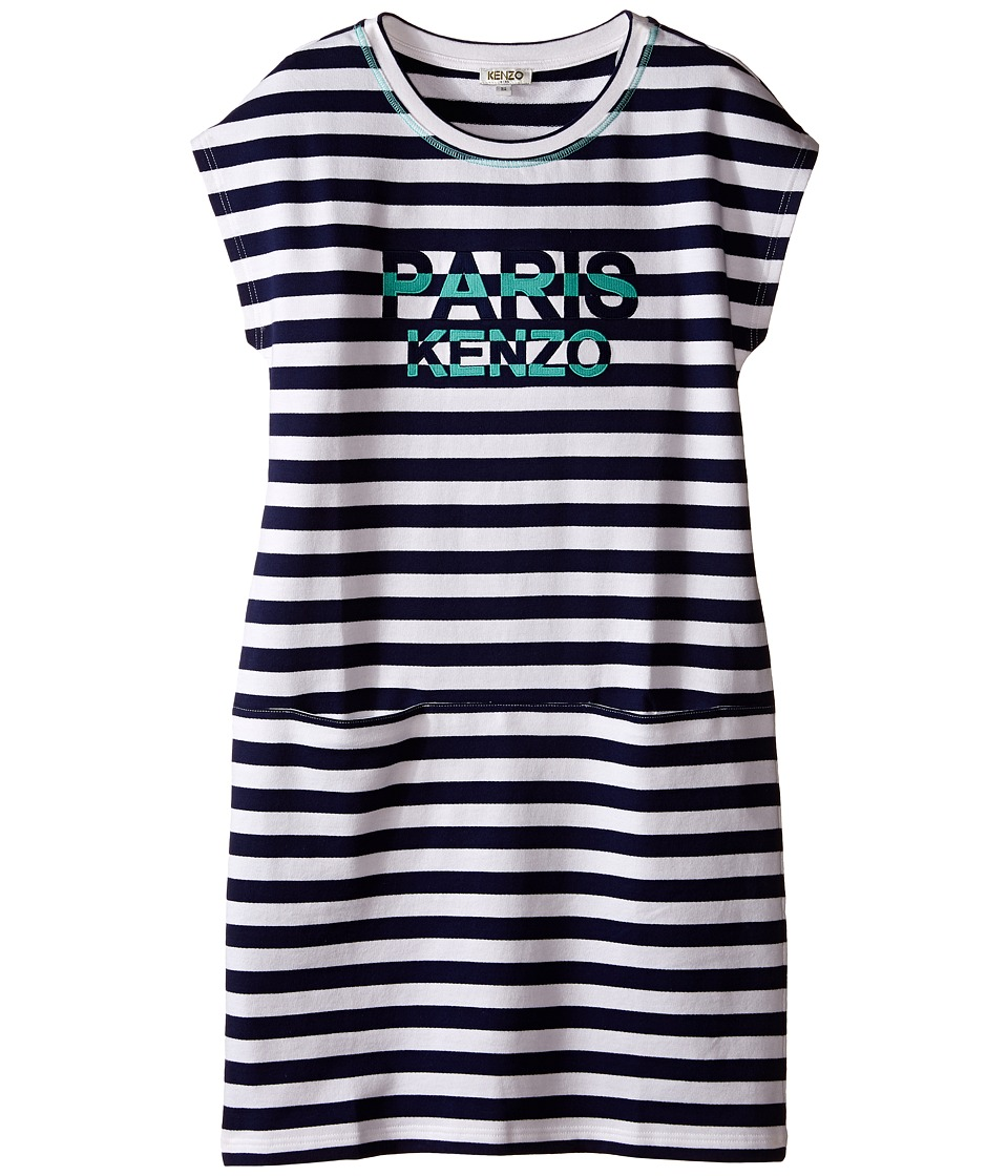 Kenzo Kids Blue Stripe Dress Little Kids/Big Kids White Girls Dress