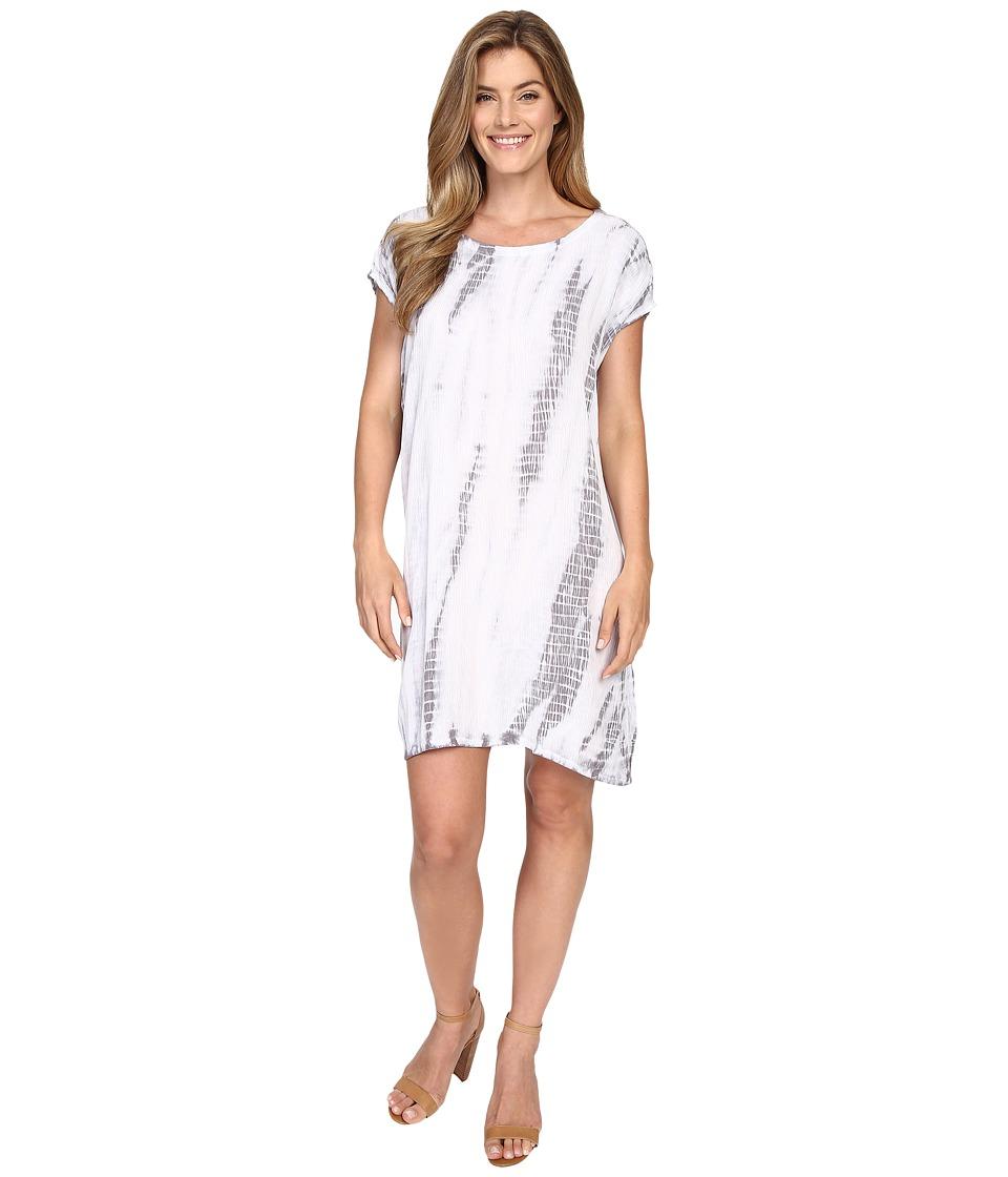 Allen Allen Tie Dye Short Caftan Dress Pale Grey Womens Dress
