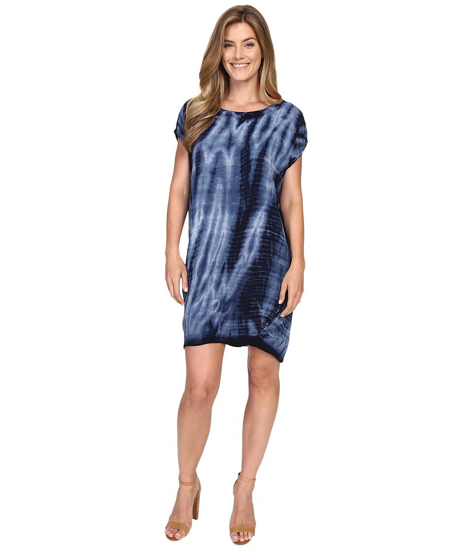 Allen Allen Tie Dye Short Caftan Dress Lapis Womens Dress