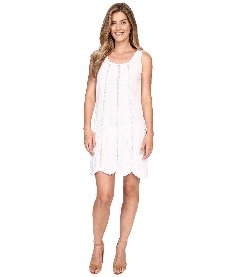 Allen Allen Seamed Tank Dress w/ Lace Trim White Womens Dress