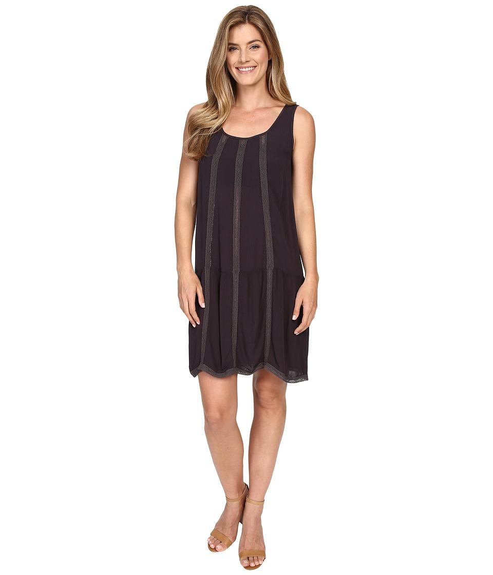 Allen Allen Seamed Tank Dress w/ Lace Trim Jet Grey Womens Dress