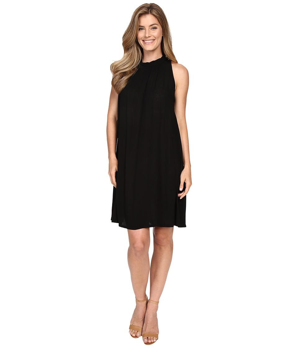 Allen Allen Sleeveless Mock Neck Swing Dress Black Womens Dress
