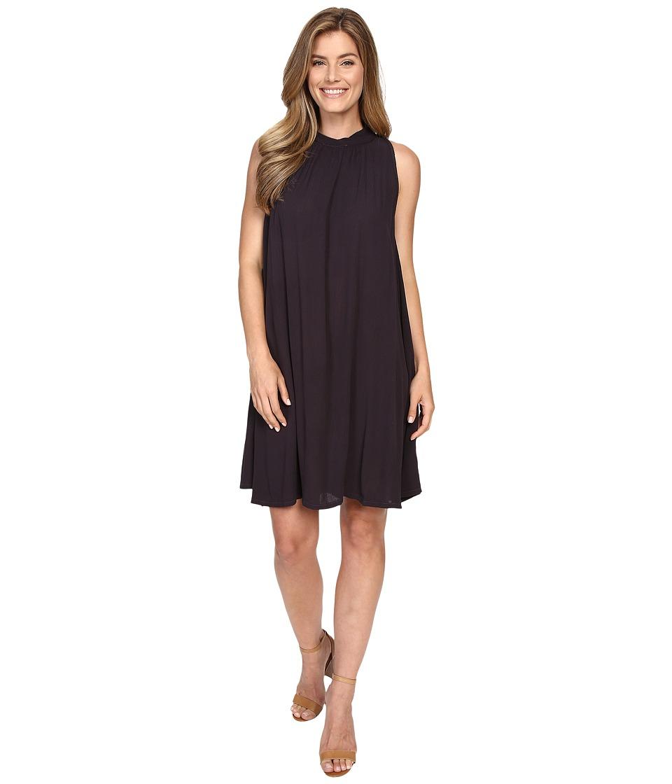 Allen Allen Sleeveless Mock Neck Swing Dress Jet Grey Womens Dress