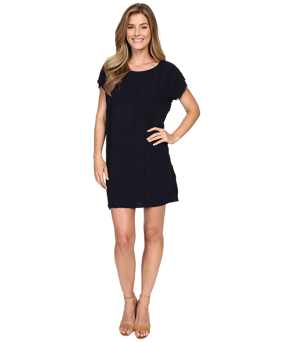 Allen Allen Square Caftan Dress w/ Fringe Lapis Womens Dress