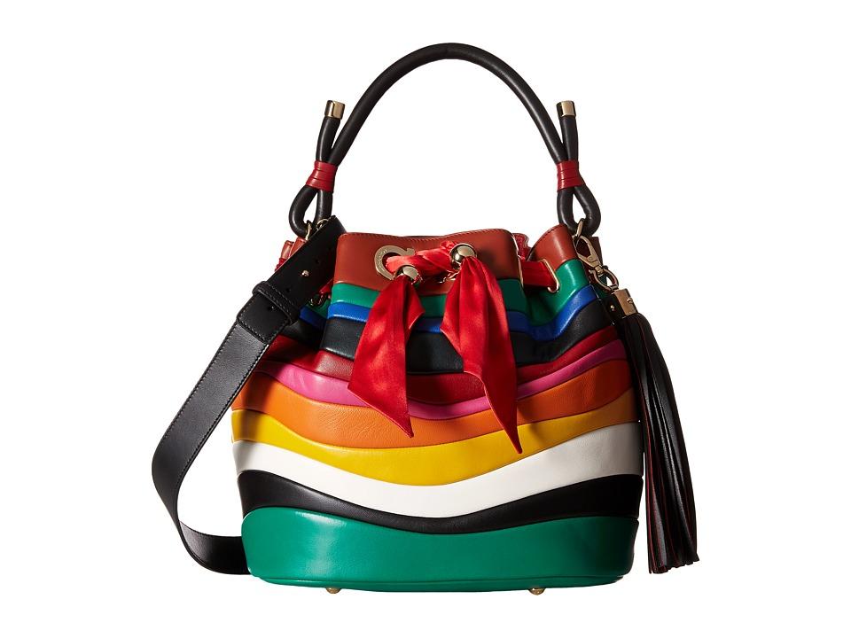 Salvatore Ferragamo - 21G076 Sara (Rosso/Nero/Emeraude) Handbags