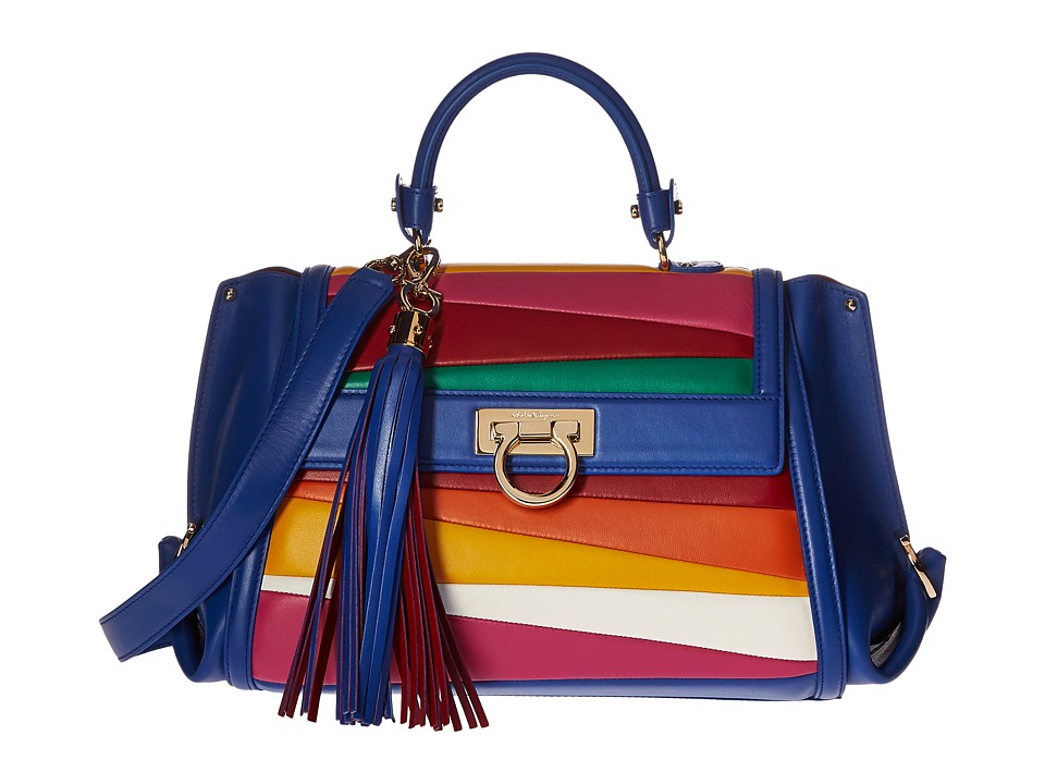 Salvatore Ferragamo - 21G082 Sofia (Blue Denim/Pollen/Hot Pink) Handbags