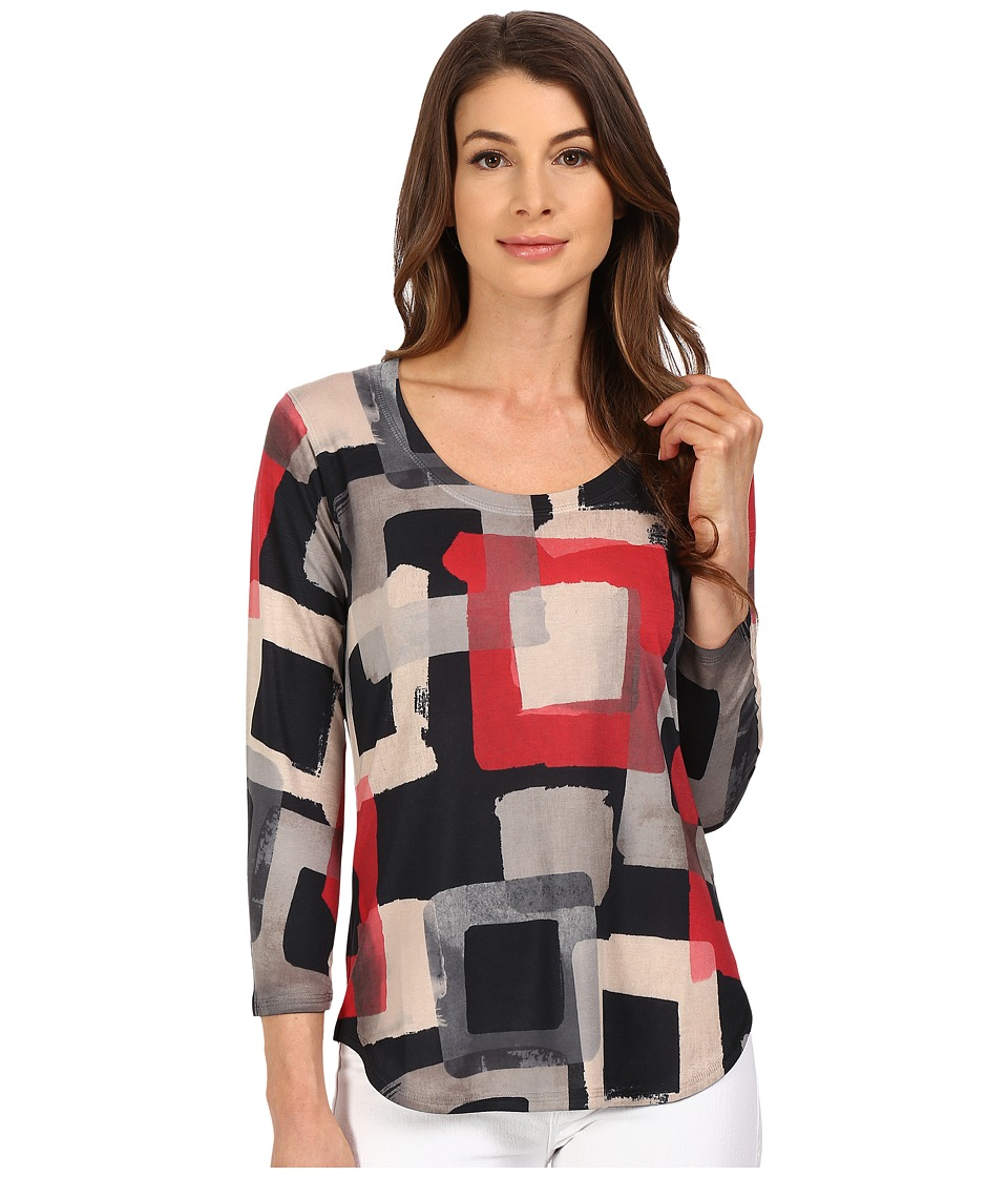 Nally amp Millie 3/4 Sleeve Geo Top Multi Womens Blouse