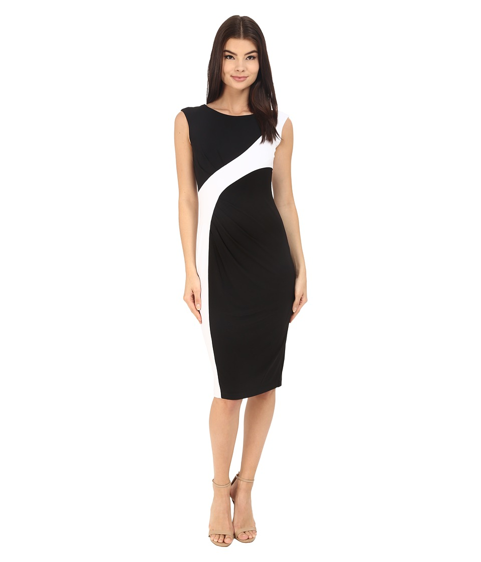 Calvin Klein Color Block Cap Sleeve Dress CD6A1V8U Black/White Womens Dress