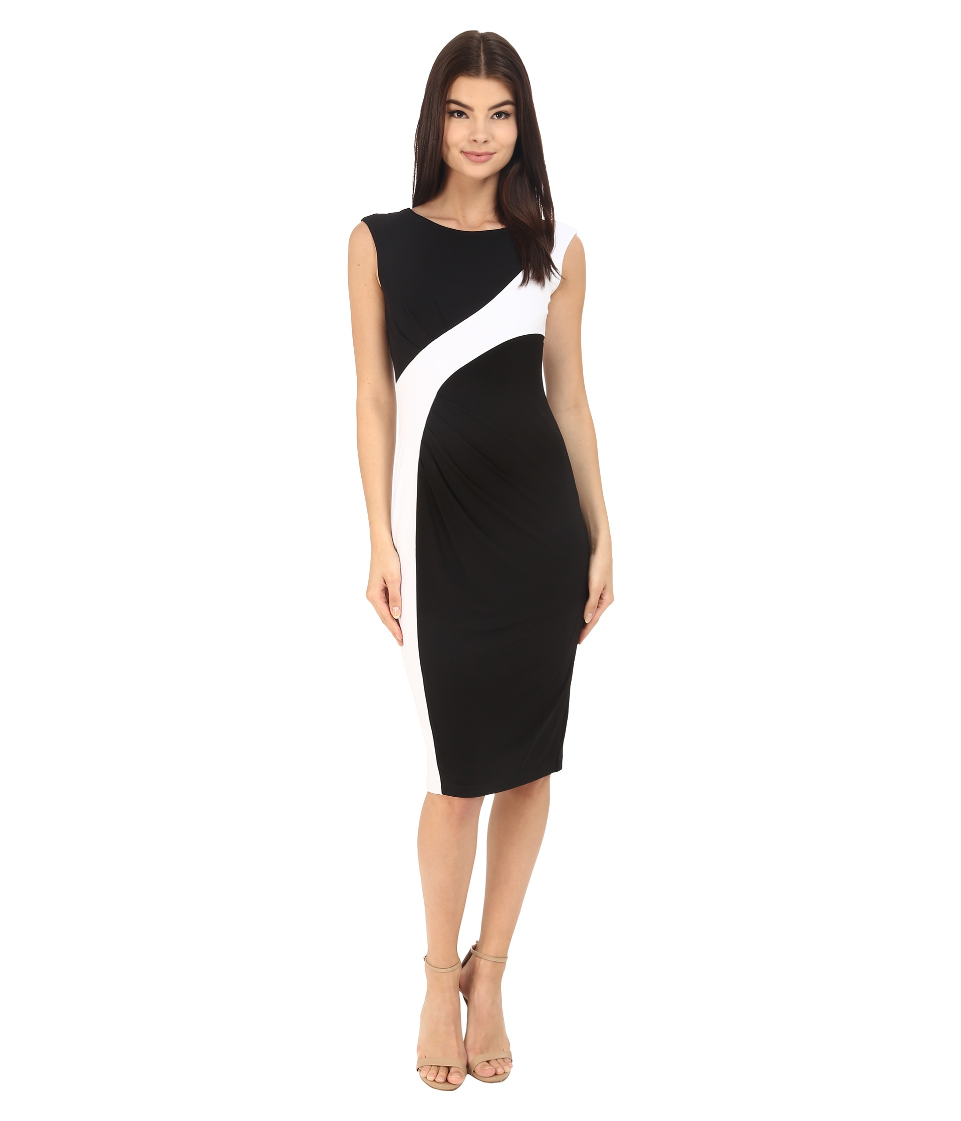 Calvin Klein Color Block Cap Sleeve Dress CD6A1V8U BlackWhite