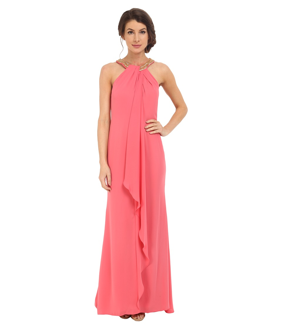 Calvin Klein Halter Neck Drapped Front Dress CD6B2P8W Coral Womens Dress