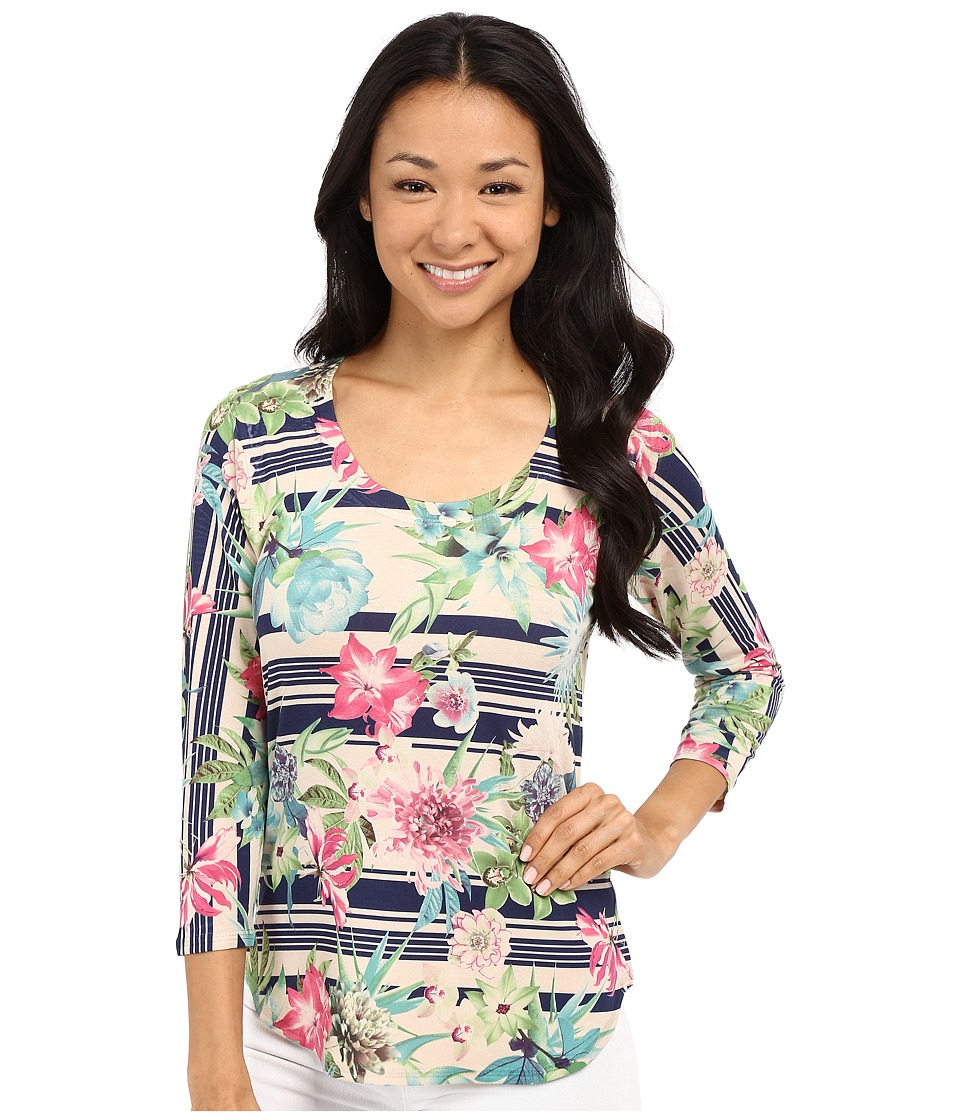 Nally amp Millie 3/4 Sleeve Floral Border Top Multi Womens Blouse