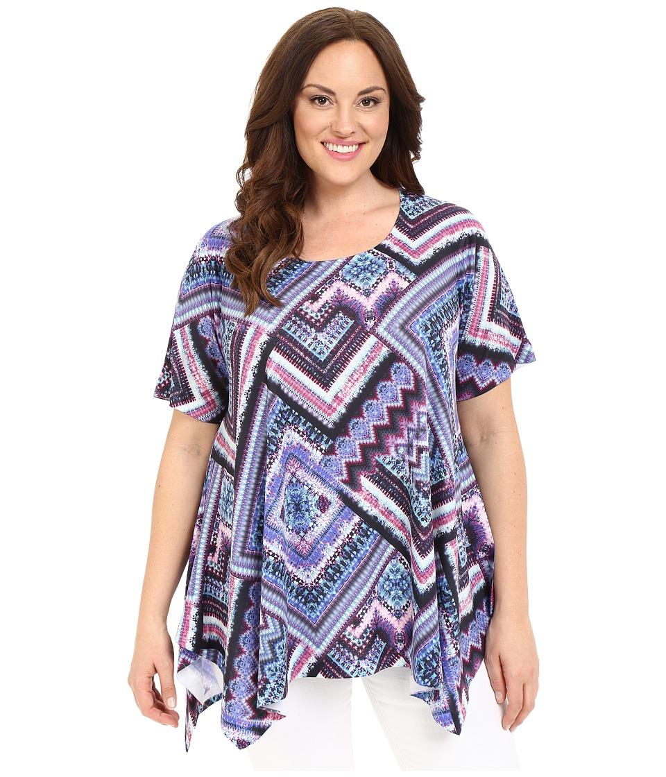 Nally amp Millie Plus Size Scarf Print Tunic Multi Womens Blouse