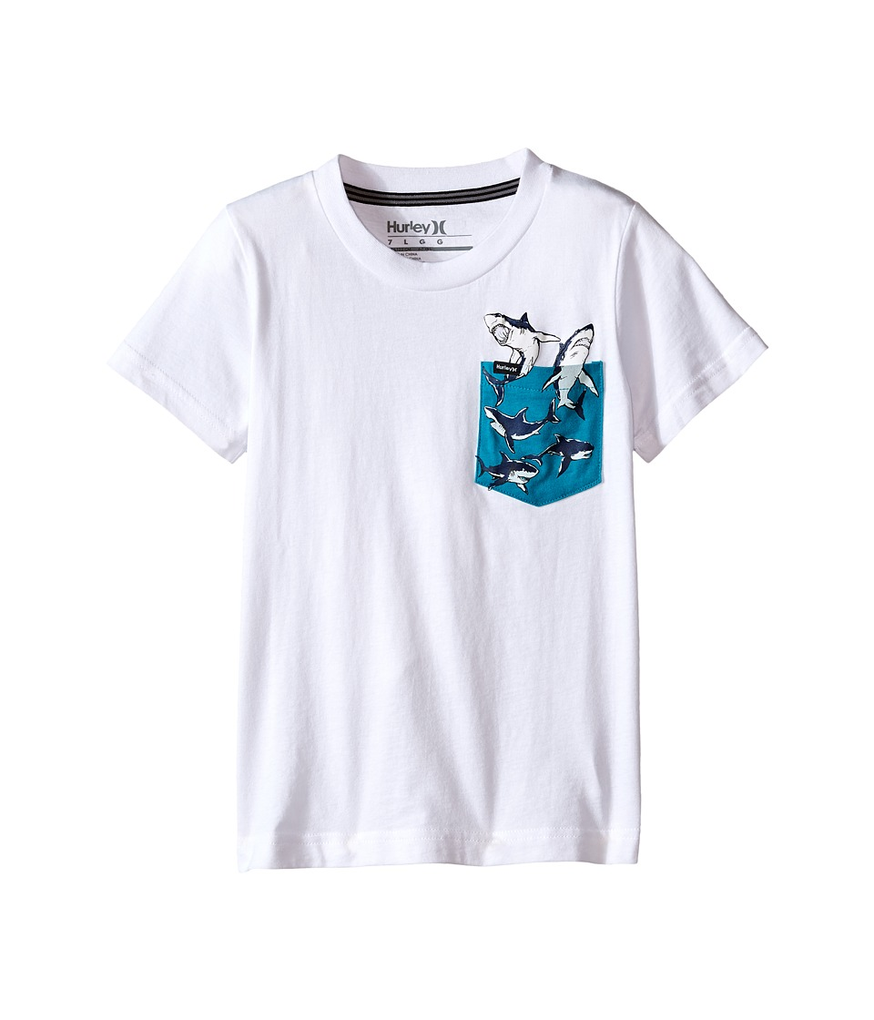 Hurley Kids Pocket Play Tee Little Kids White/Turbo Green Boys T Shirt