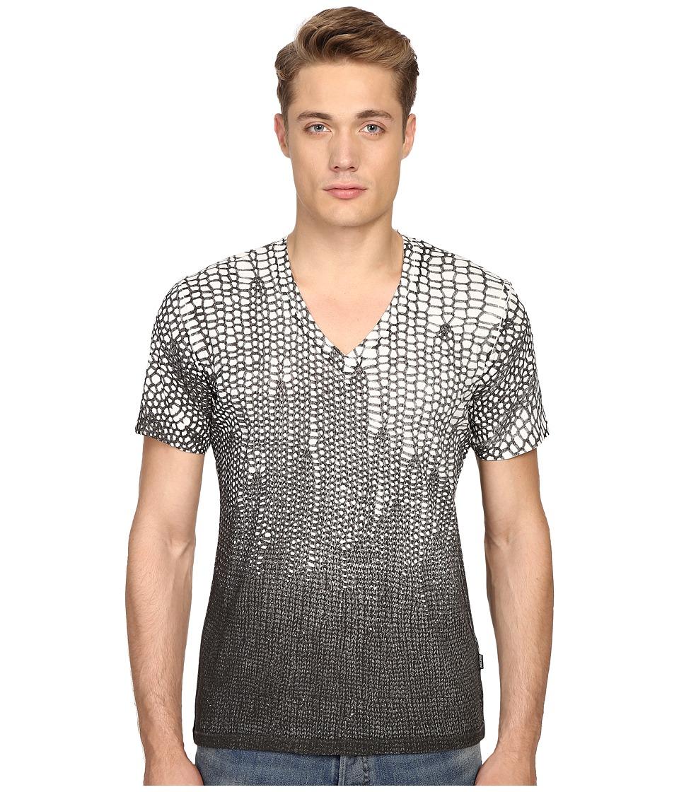 Just Cavalli - Slim Fit Scale V-Neck T-Shirt (Papyrus) Men