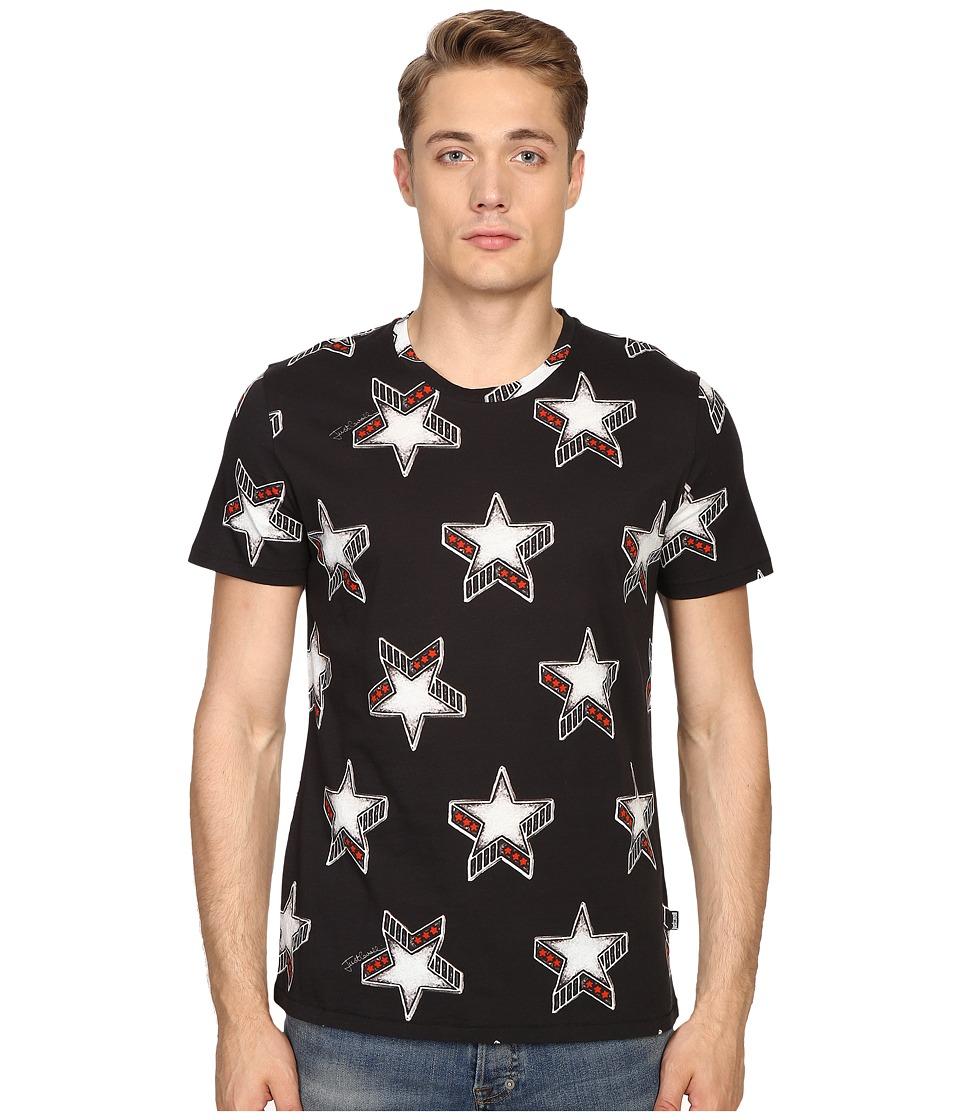 Just Cavalli - Slim Fit Stardust Print T-Shirt (Black) Men
