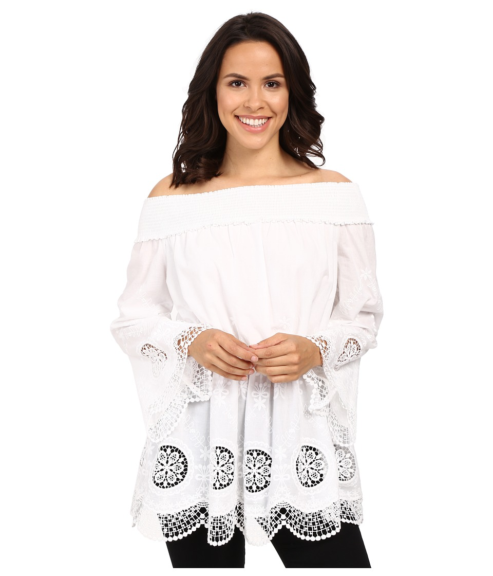 Adrianna Papell Embroidery Voile Off Shoulder White Womens Dress
