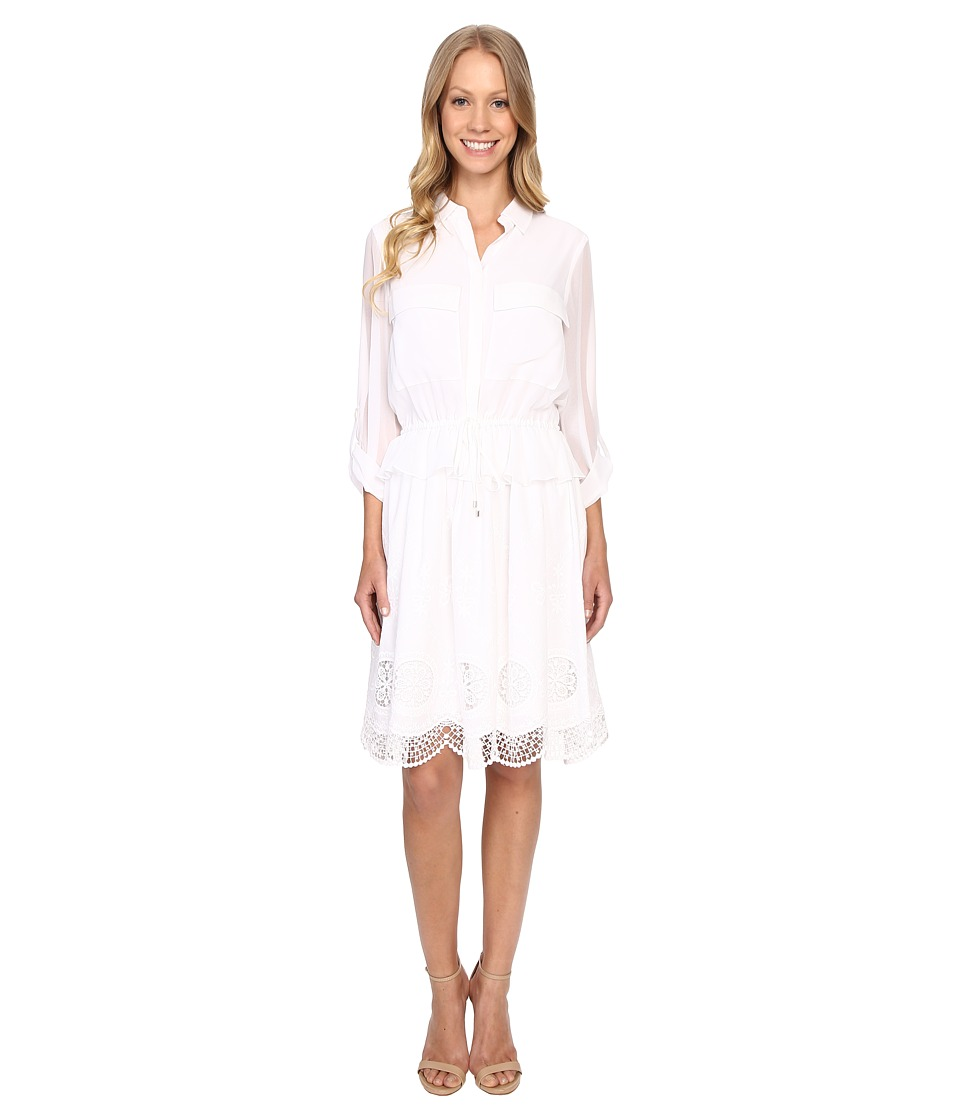 Adrianna Papell Embroidery Voile Shirtdress White Womens Dress
