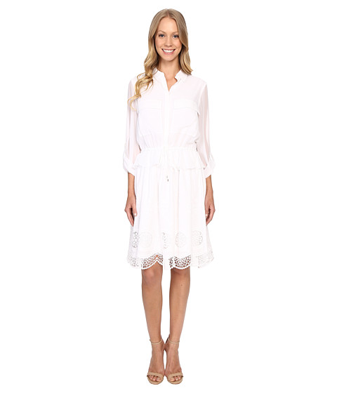 Adrianna Papell Embroidery Voile Shirtdress
