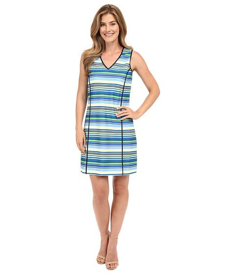 Adrianna Papell Print V-Neck Sleeveless Shift Dress