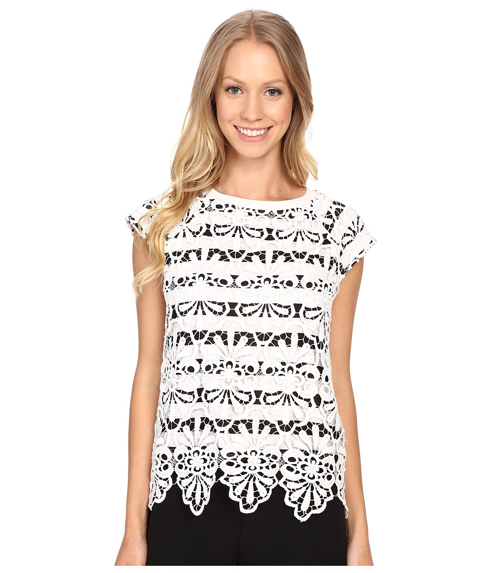 Adrianna Papell - Lace Overlay Top w/ Stripe Underneath (White) Women