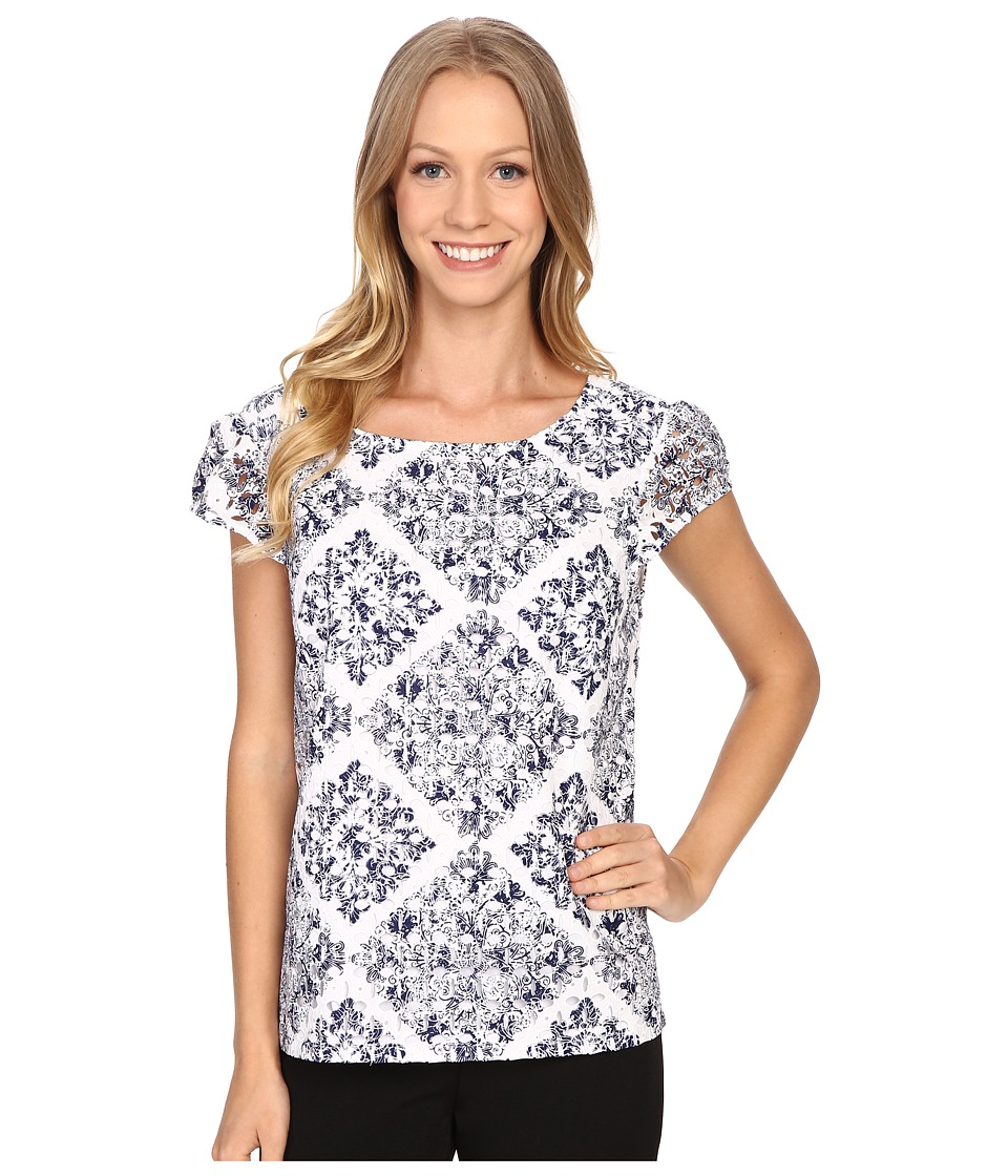 Adrianna Papell Print Embroidered Eyelet Blouse Blue Multi Womens Blouse