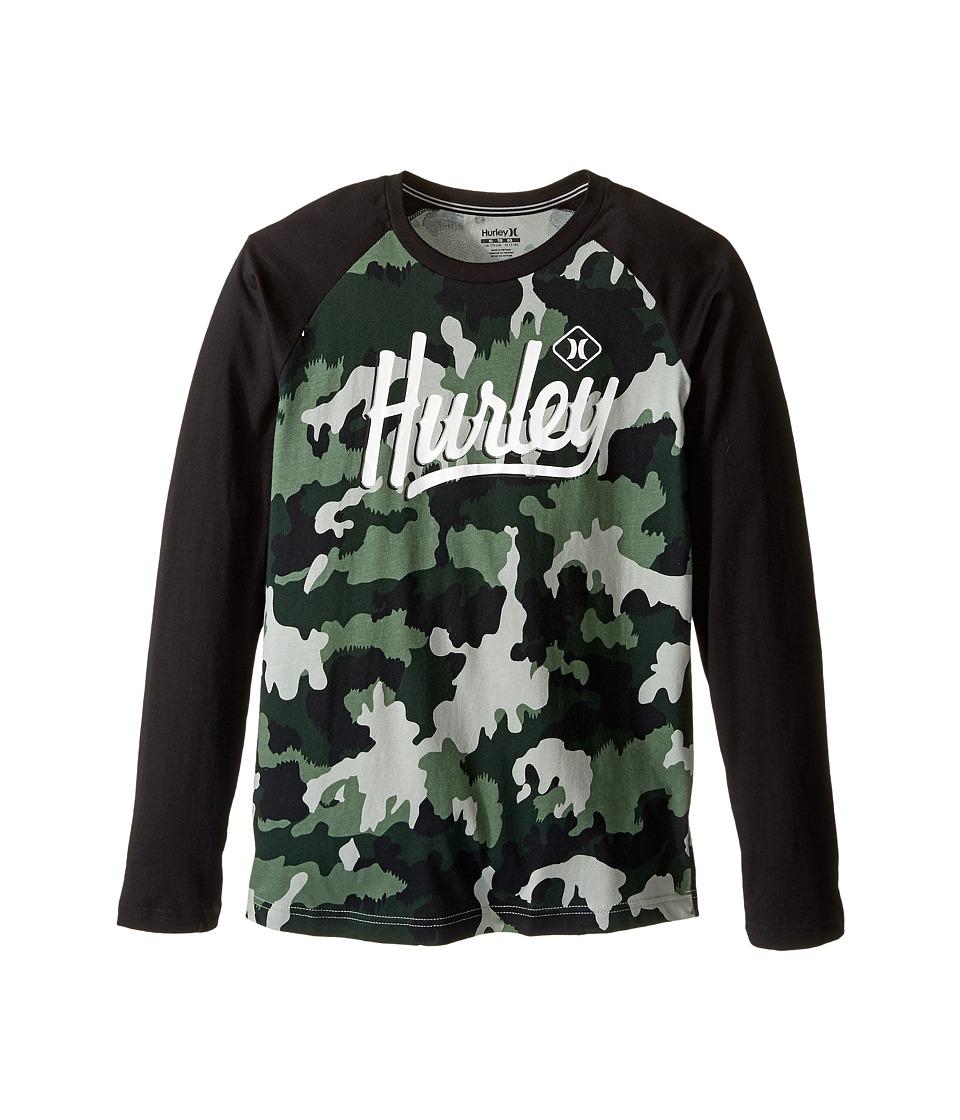 Hurley Kids - Athletic Raglan Tee (Big kids) (Green Camo) Boy