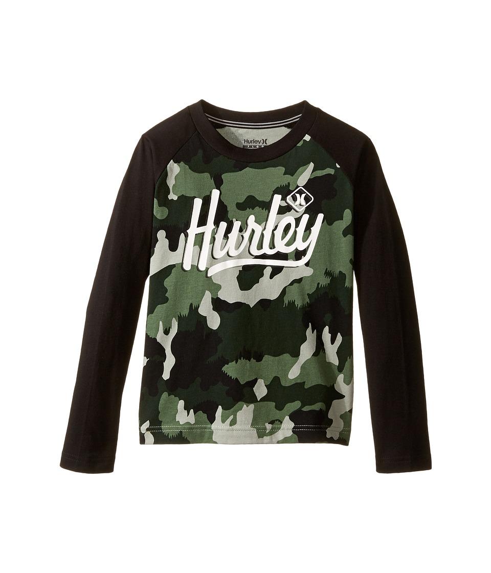 Hurley Kids - Athletic Raglan Tee (Little Kids) (Green Camo) Boy