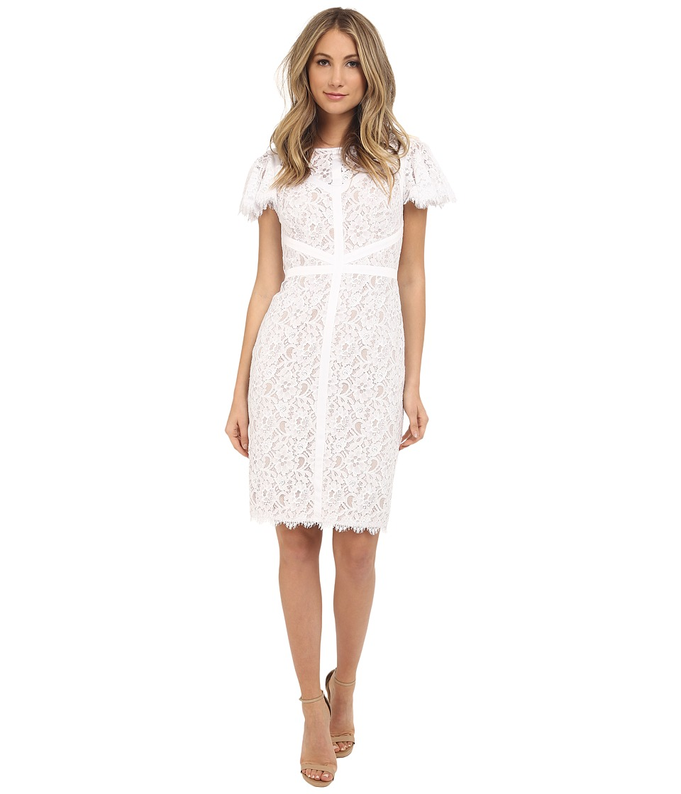 NUE by Shani Lace Dress with Piping Detail White/Nude Womens Dress