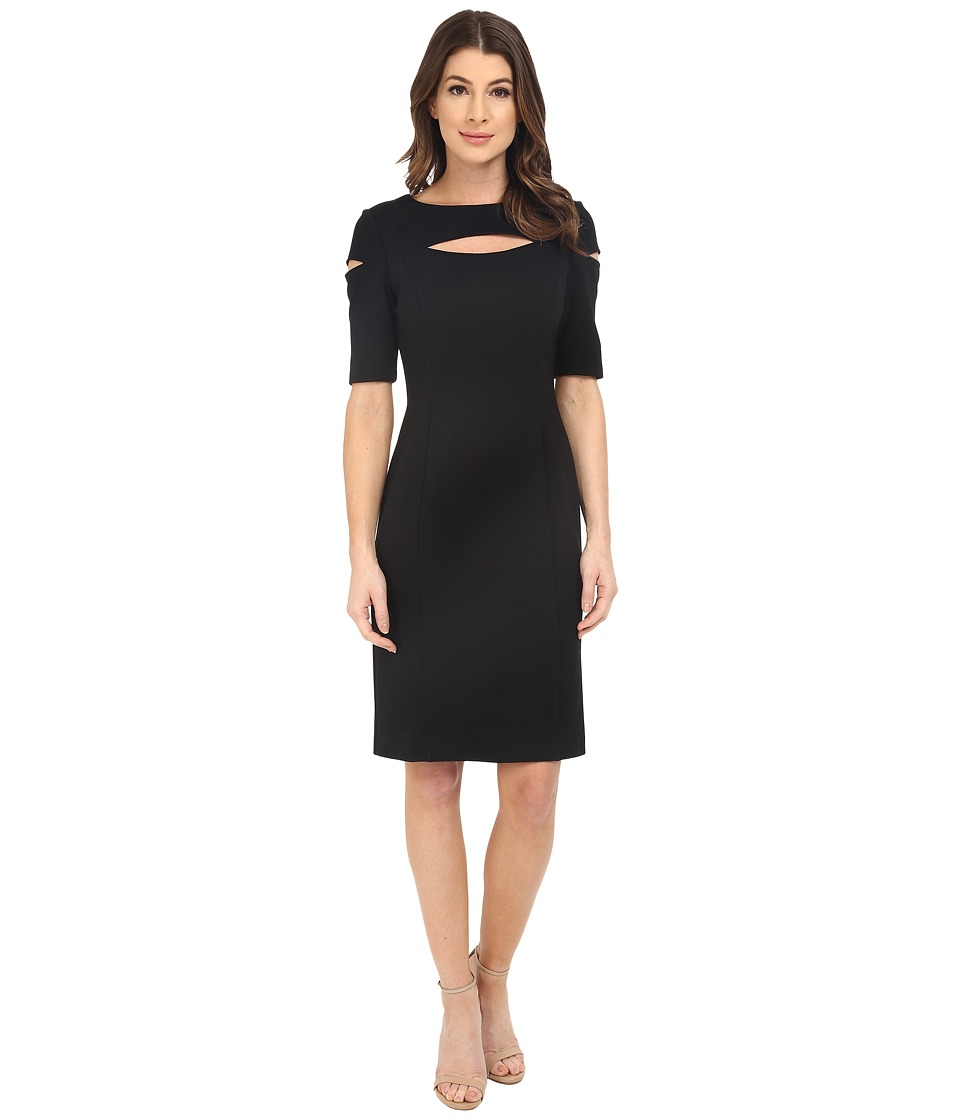 NUE by Shani Knit Dress with Keyhole and Cut Out Detail Black Womens Dress