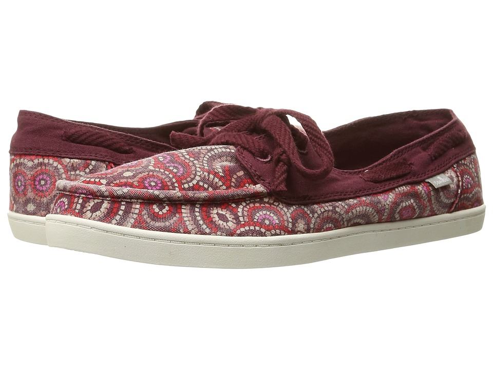 Sanuk - Pair O Sail Prints (Burgundy Multi Radio Love) Women